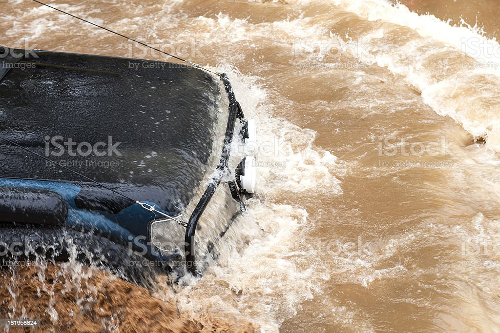 Flooded car. stock photo