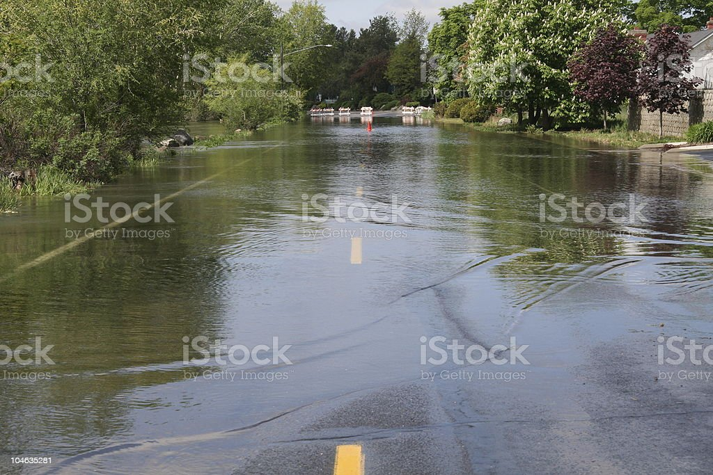 Flooded city road stock photo