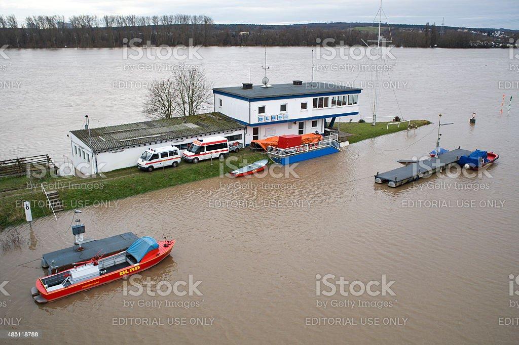 Flooded  DLRG base at River Rhine, Wiesbaden stock photo