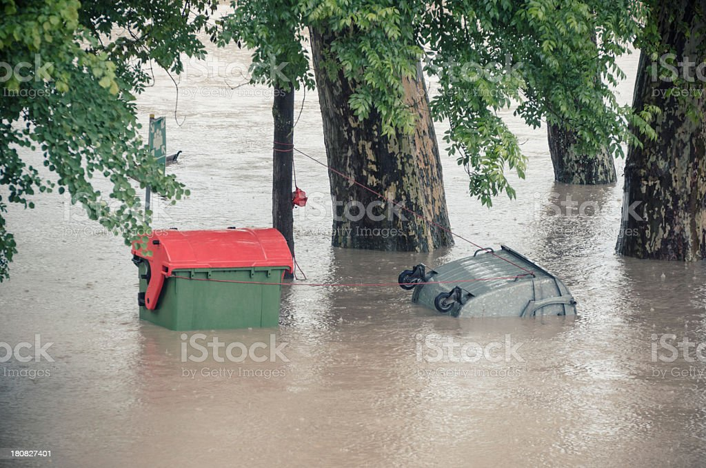 Flooded dumpster royalty-free stock photo