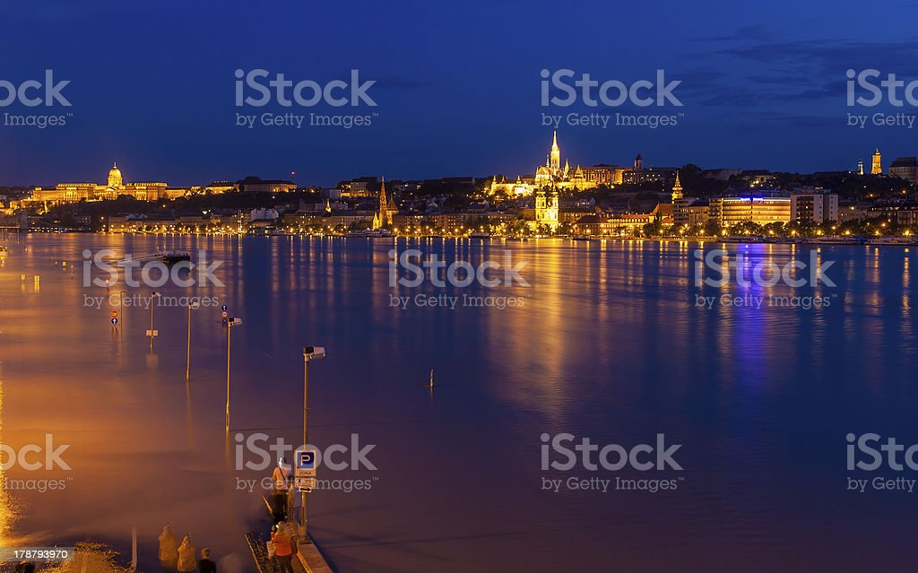Flooded embankment in Budapest, Hungary royalty-free stock photo