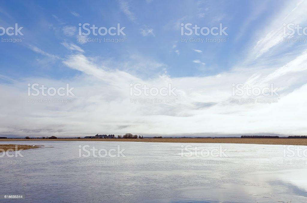 Flooded field in rural landscape stock photo