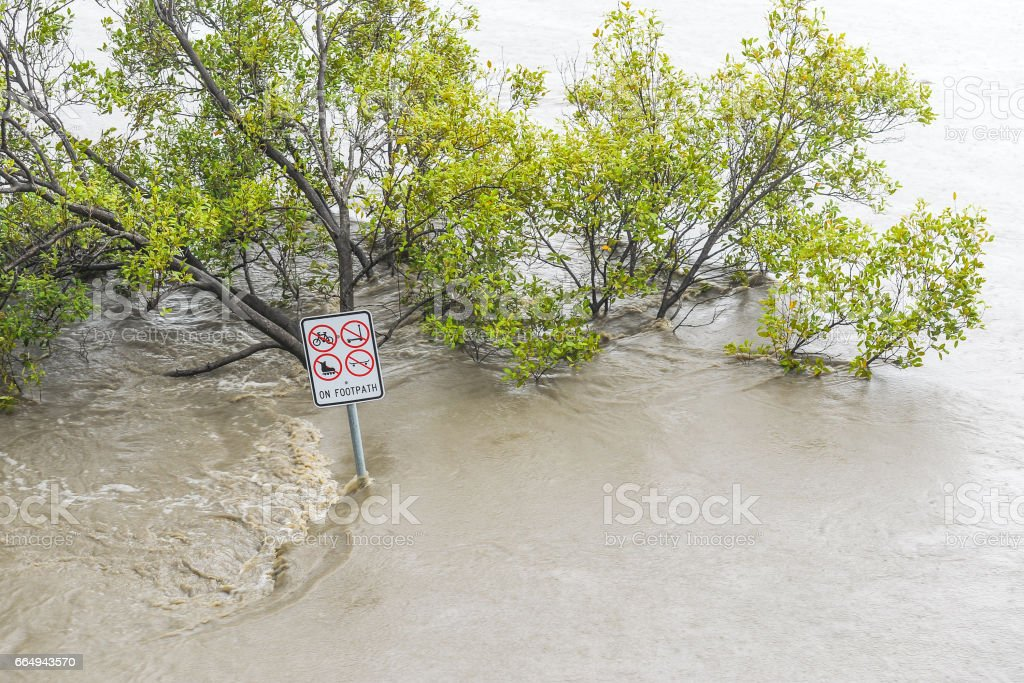 Flooded footpath in Brisbane stock photo