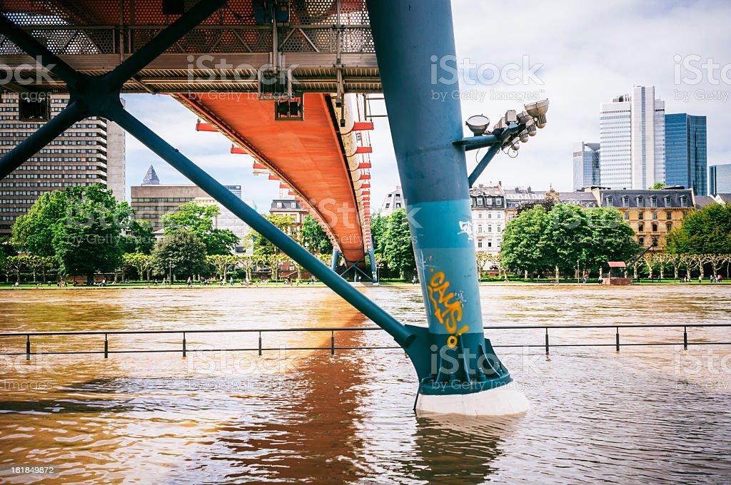 Flooded Holbeinsteg in Frankfurt am Main stock photo