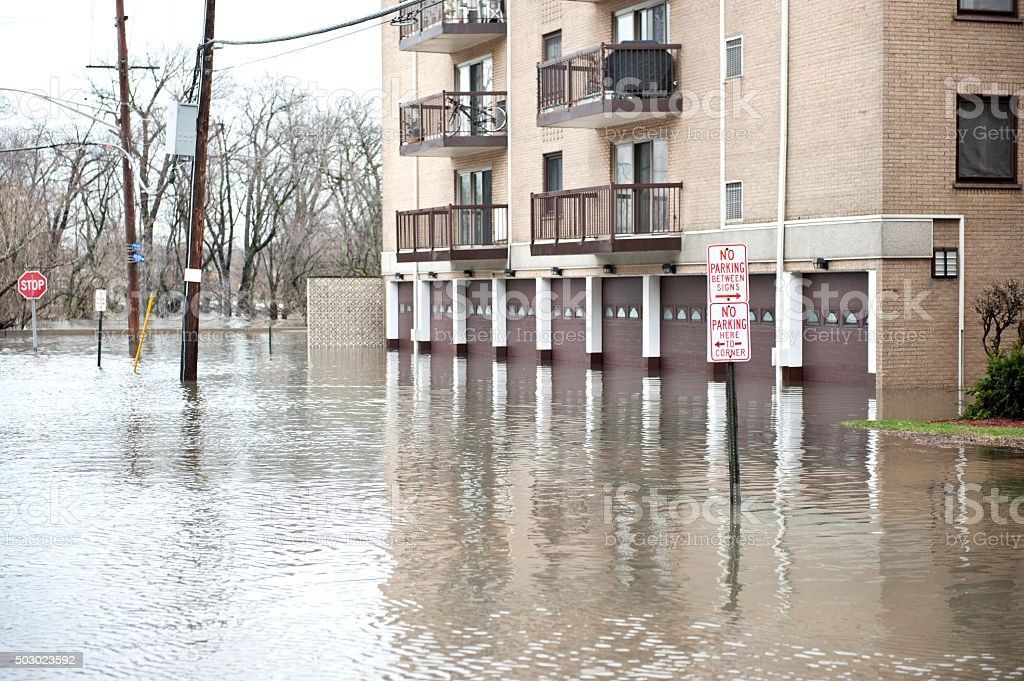 Flooded Homes Outdoors stock photo