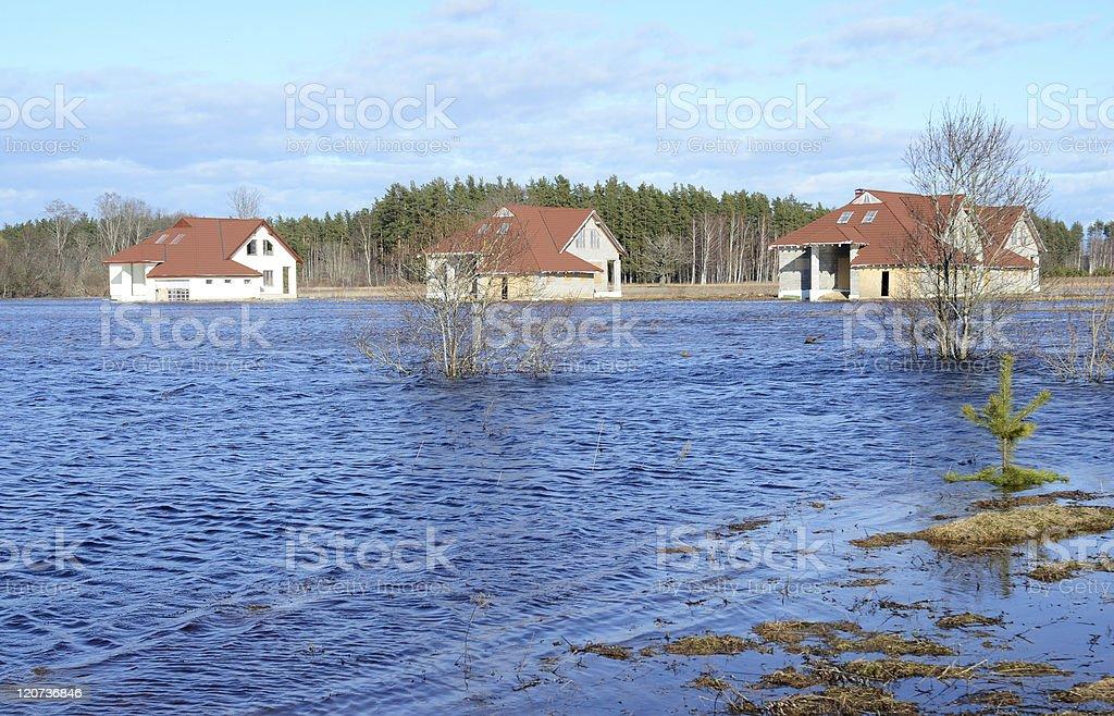 Inondé de maisons photo libre de droits