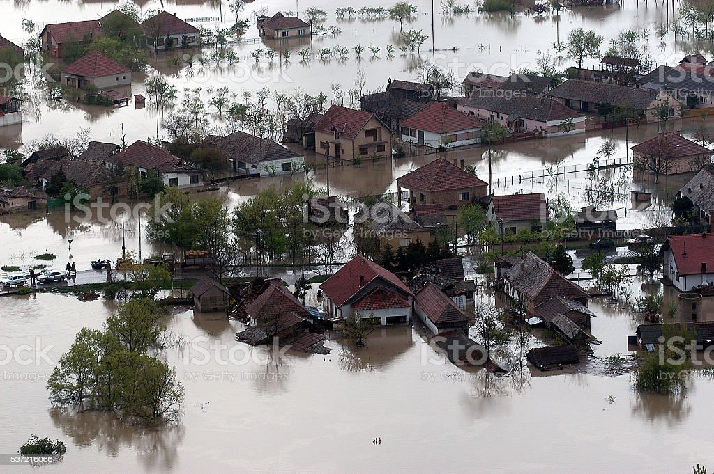 Flooded house aerial view stock photo