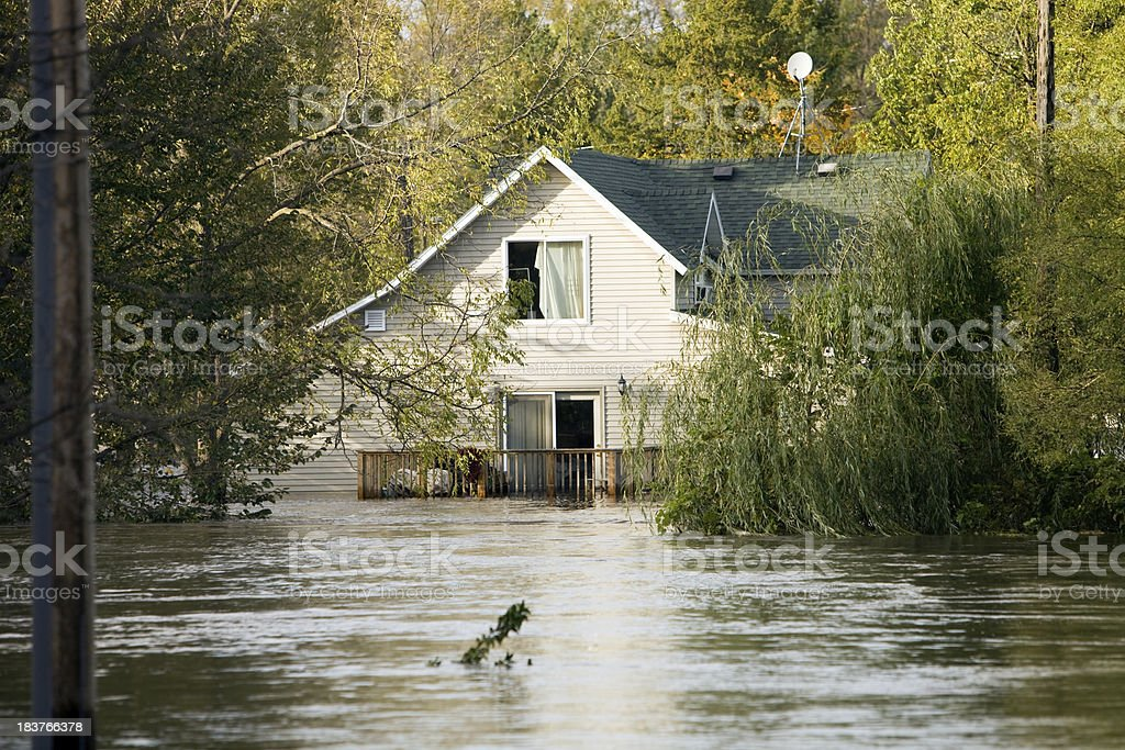 Flooded House, Following a Severe Rainstorm stock photo