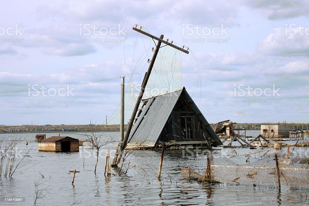 Flooded house stock photo