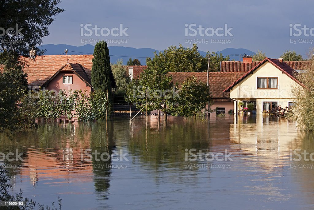 Flooded houses stock photo