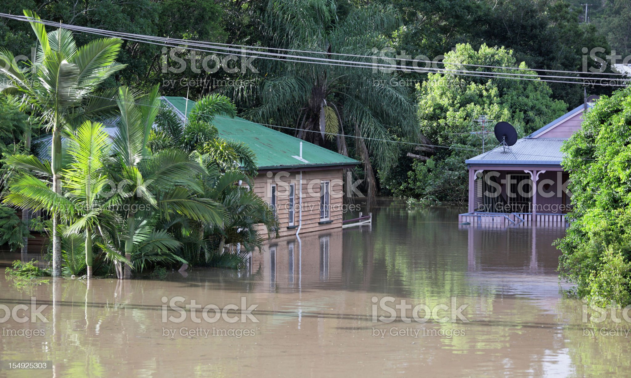 Flooded houses royalty-free stock photo