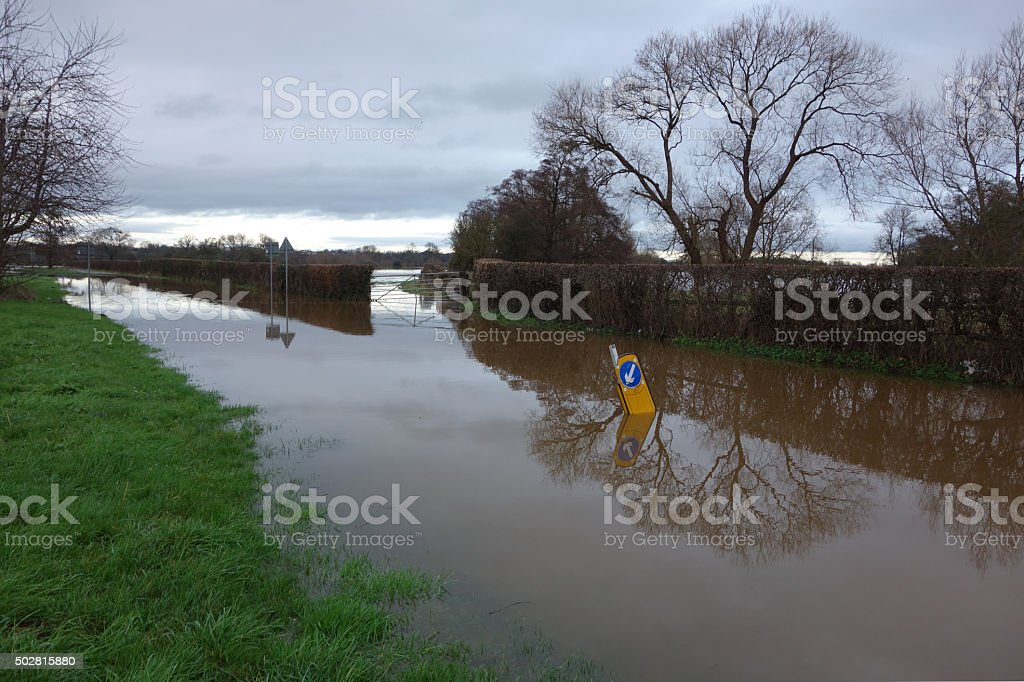 Flooded lane stock photo