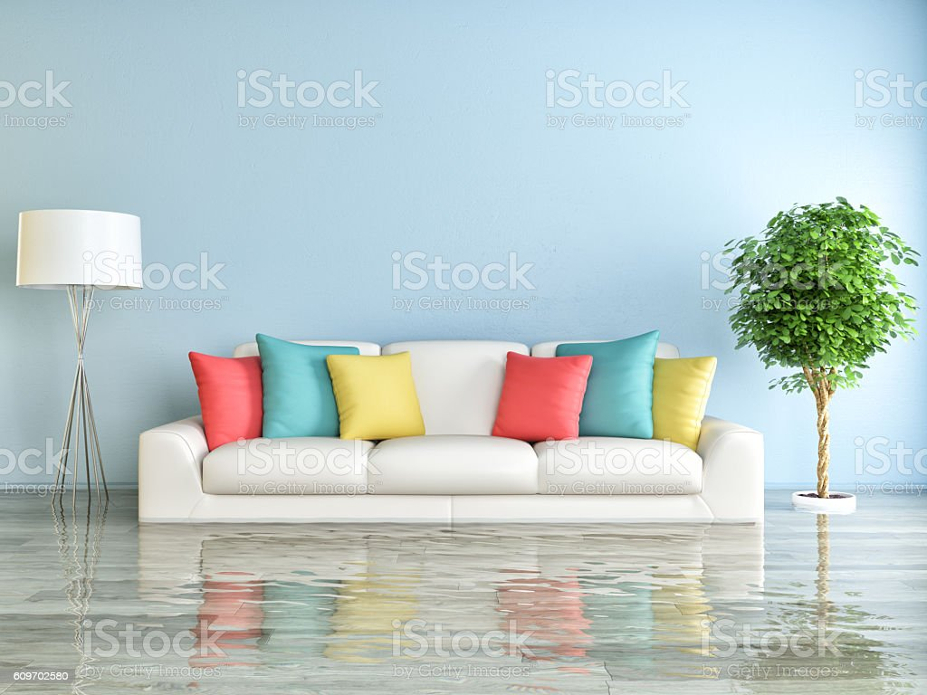 Flooded living room stock photo