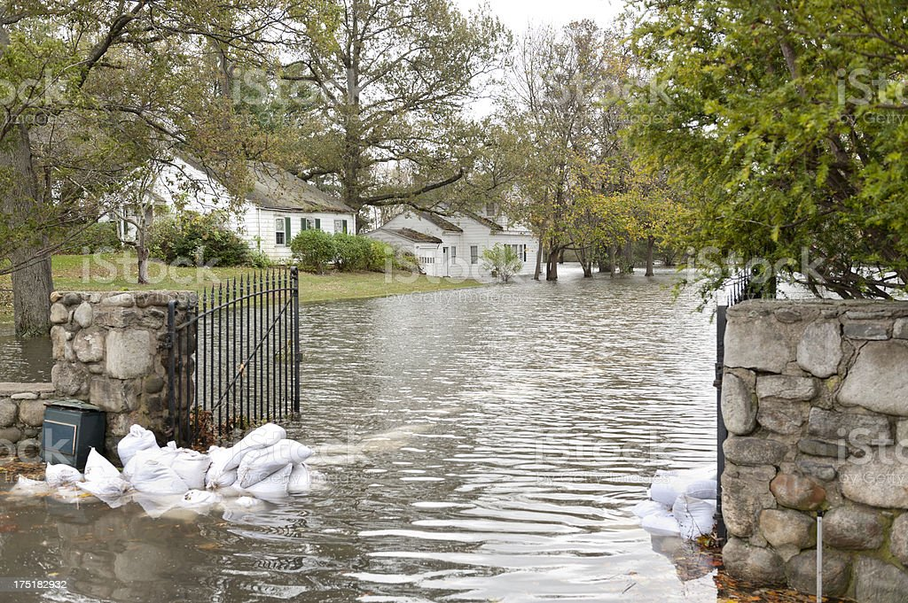 Flooded luxury house after Hurricane Sandy stock photo