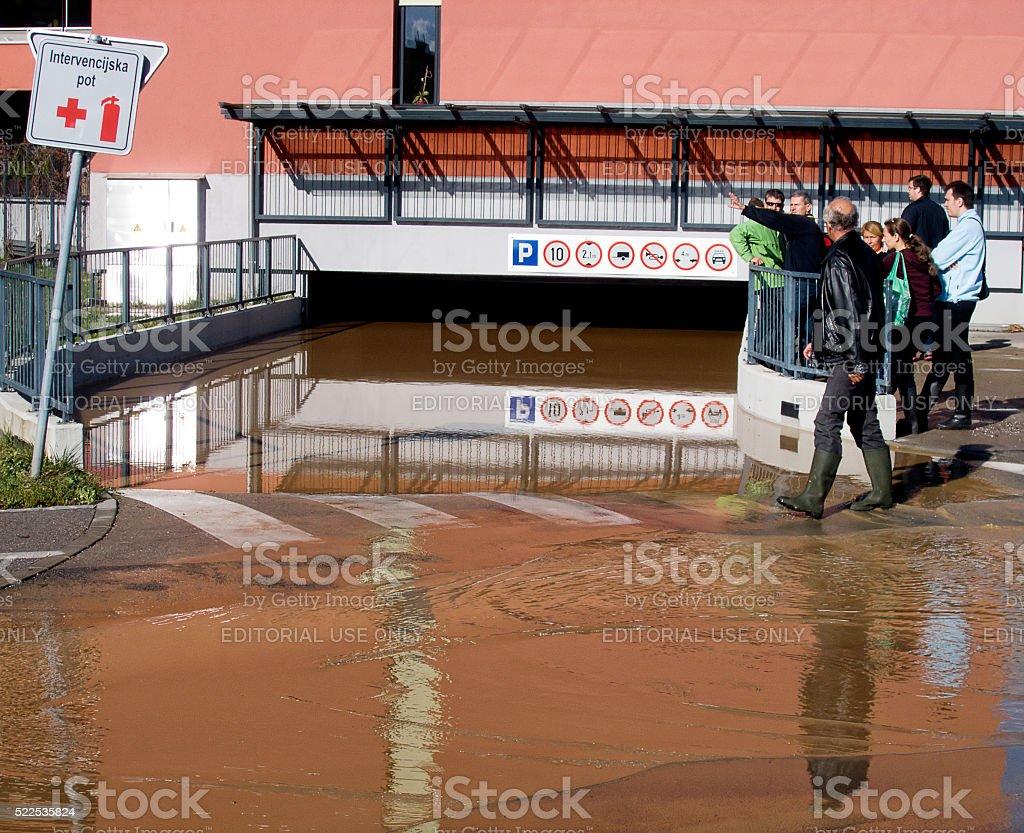 Flooded parking garage stock photo