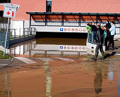 Flooded parking garage