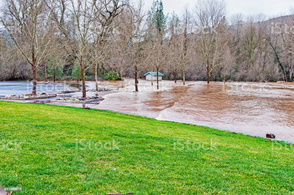 Flooded Parking Lot in County Park Lotus California stock photo