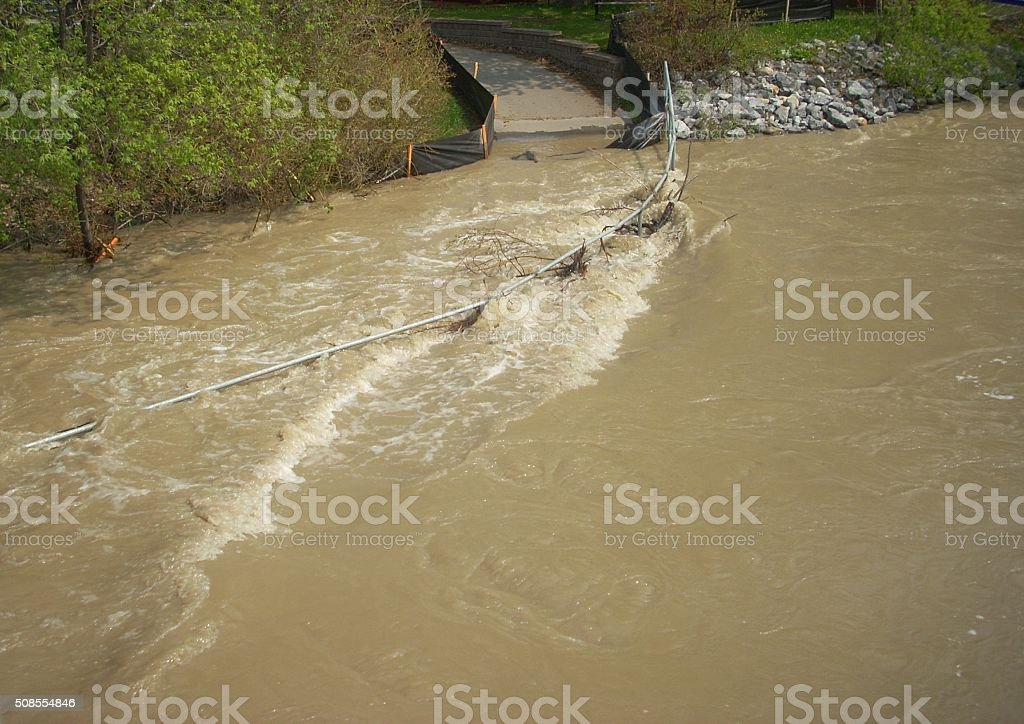 Flooded Pathway Spring Melt stock photo