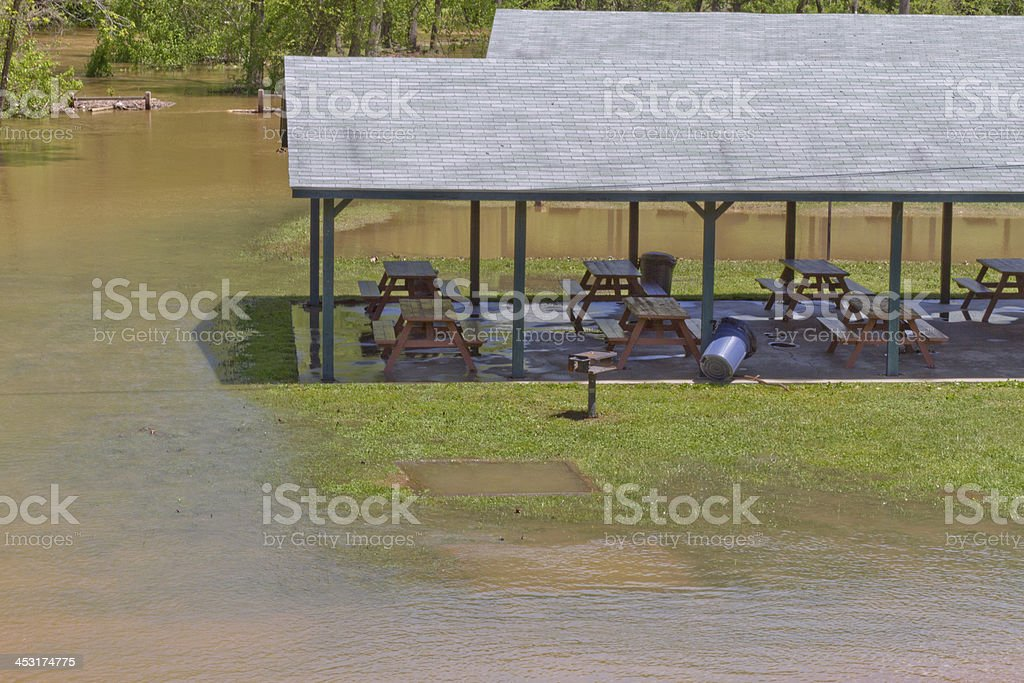 Flooded Picnic Area stock photo