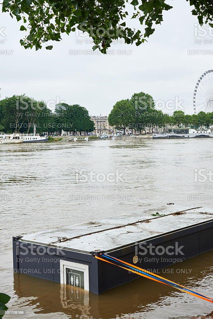 Flooded public toilet during Paris floods royalty-free stock photo