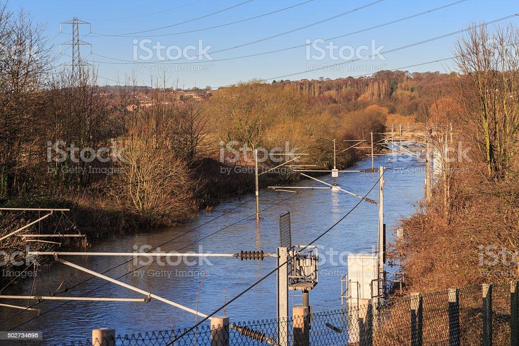 Flooded railway lines in Leeds stock photo