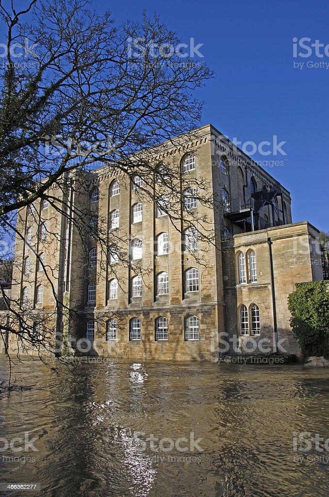Flooded River, Bradford on Avon, United Kingdom stock photo