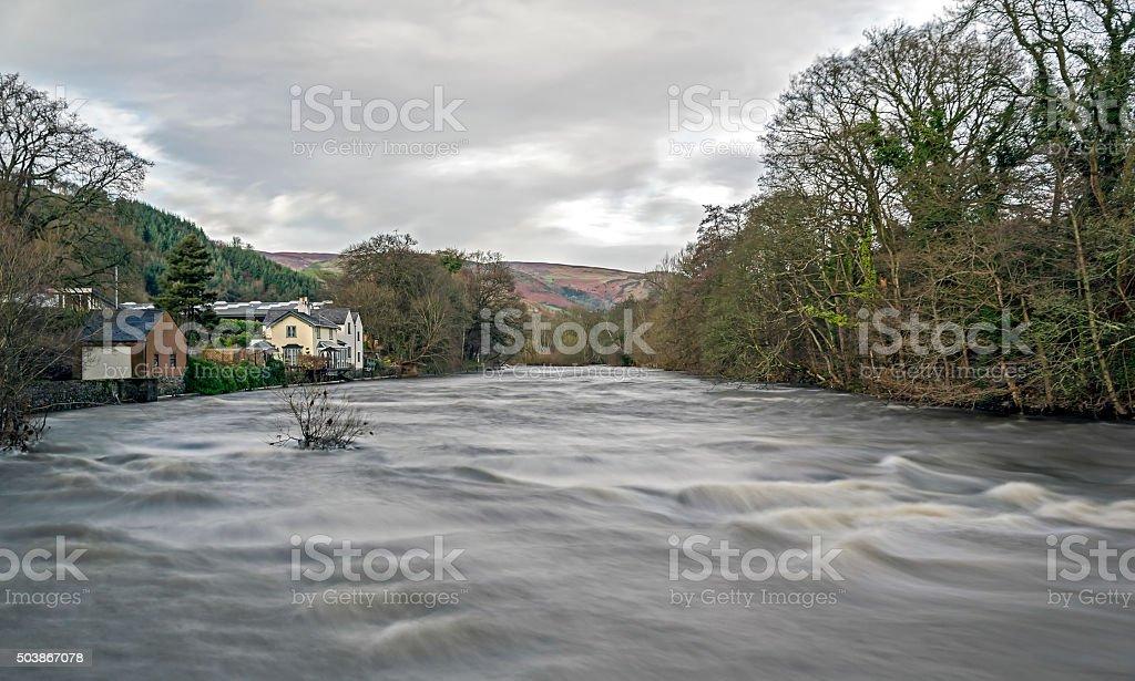 Flooded River Dee Llangollen stock photo