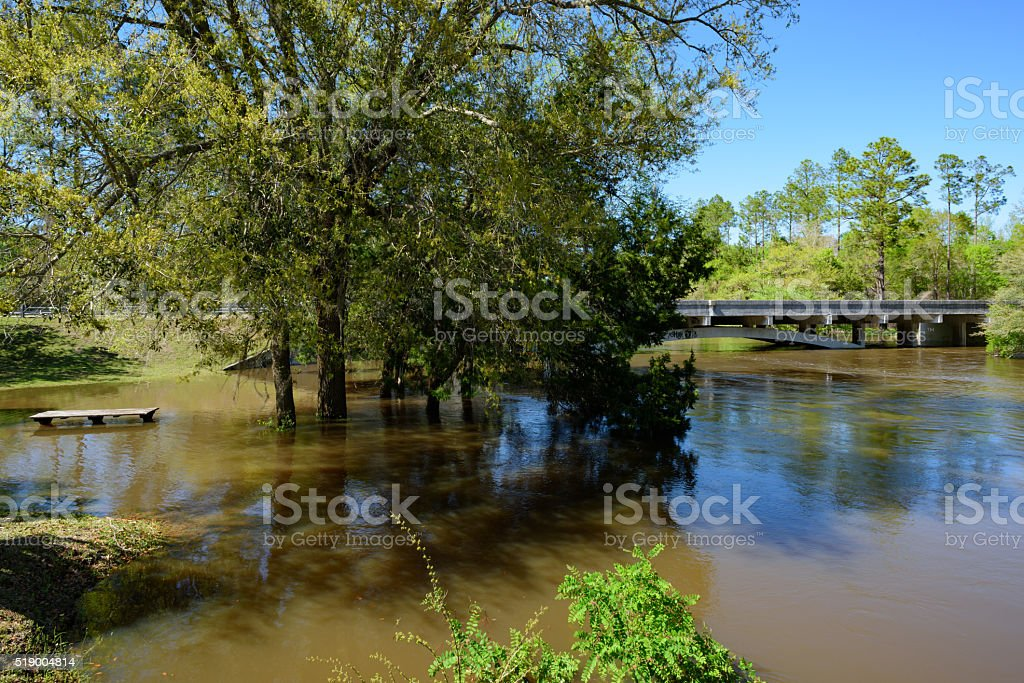 Flooded River out of it's banks stock photo