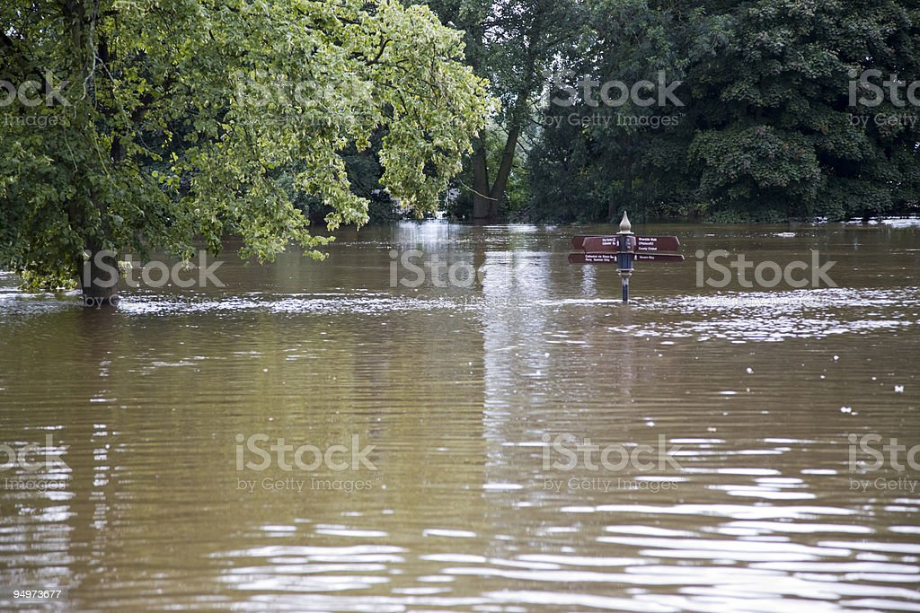 Flooded River Severn at Worcester royalty-free stock photo
