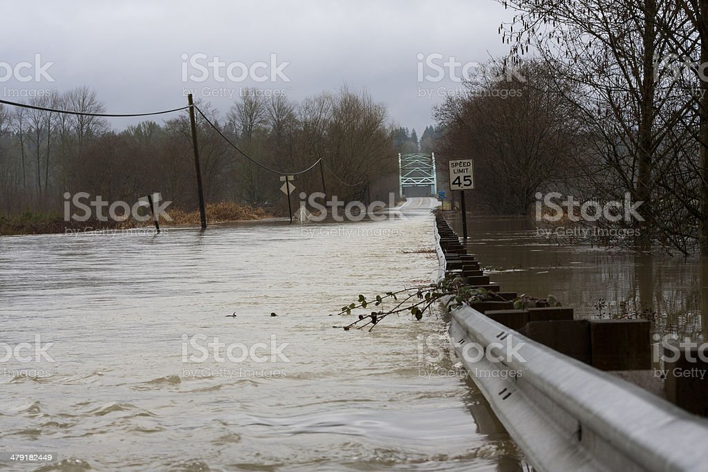 Flooded Road - 124th and the Novelty Bridge stock photo