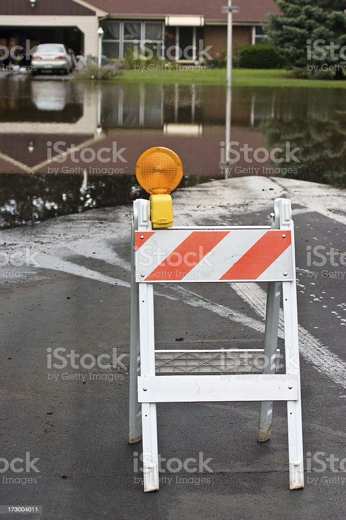flooded road blocked stock photo