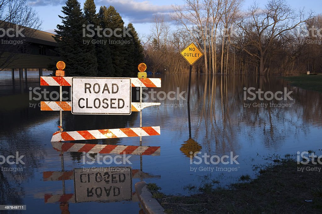 Flooded Road Closed Sign in Michigan stock photo