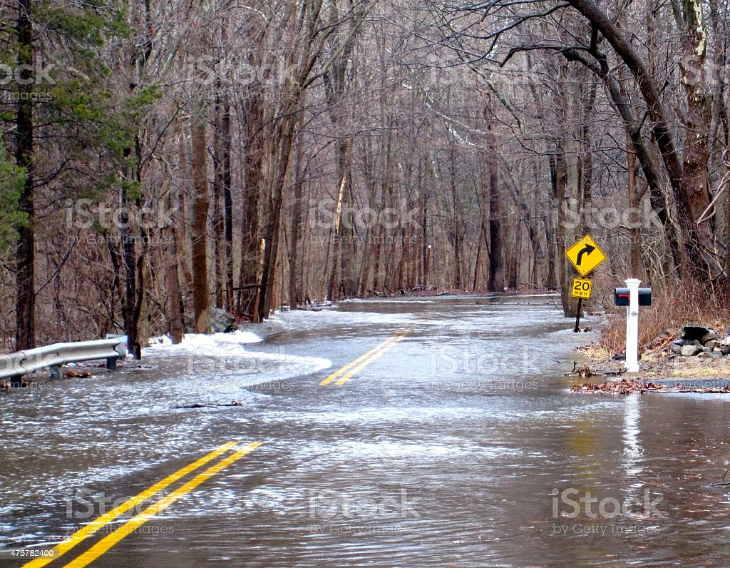 Flooded road in Connecticut stock photo