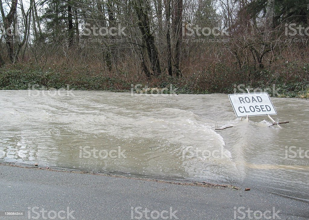 Flooded Road stock photo
