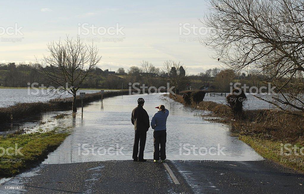 Flooded Road, River Avon #1 stock photo