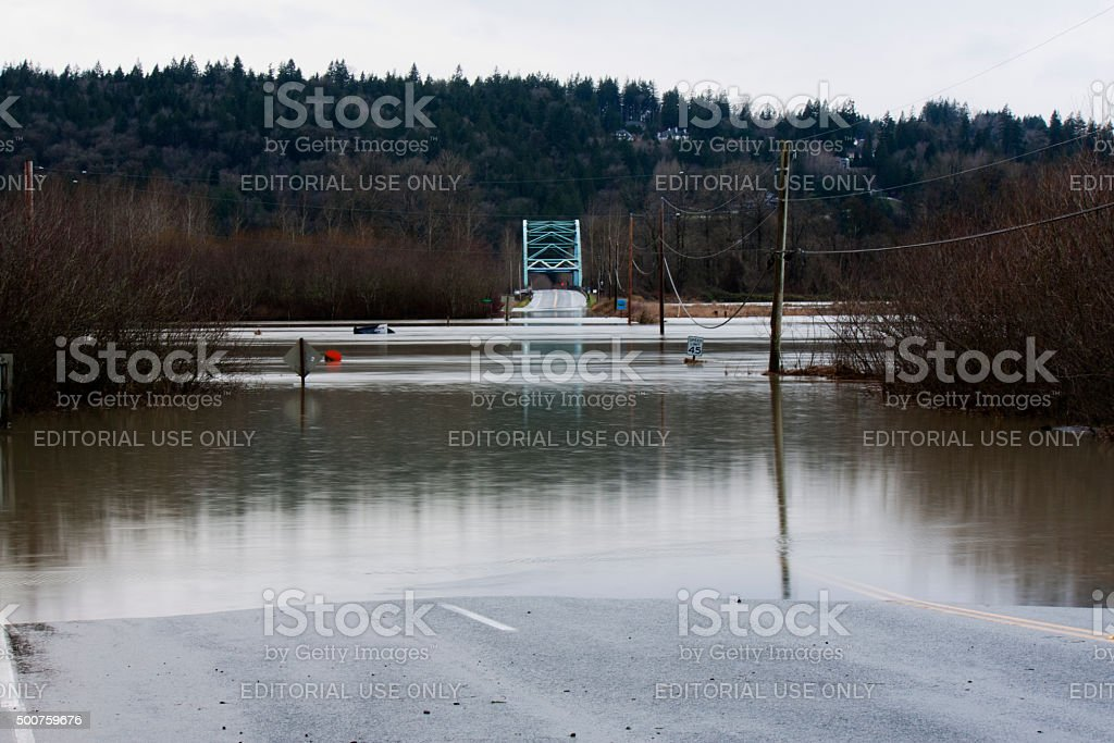 Flooded Roadway - 124th and the Novelty Bridge stock photo