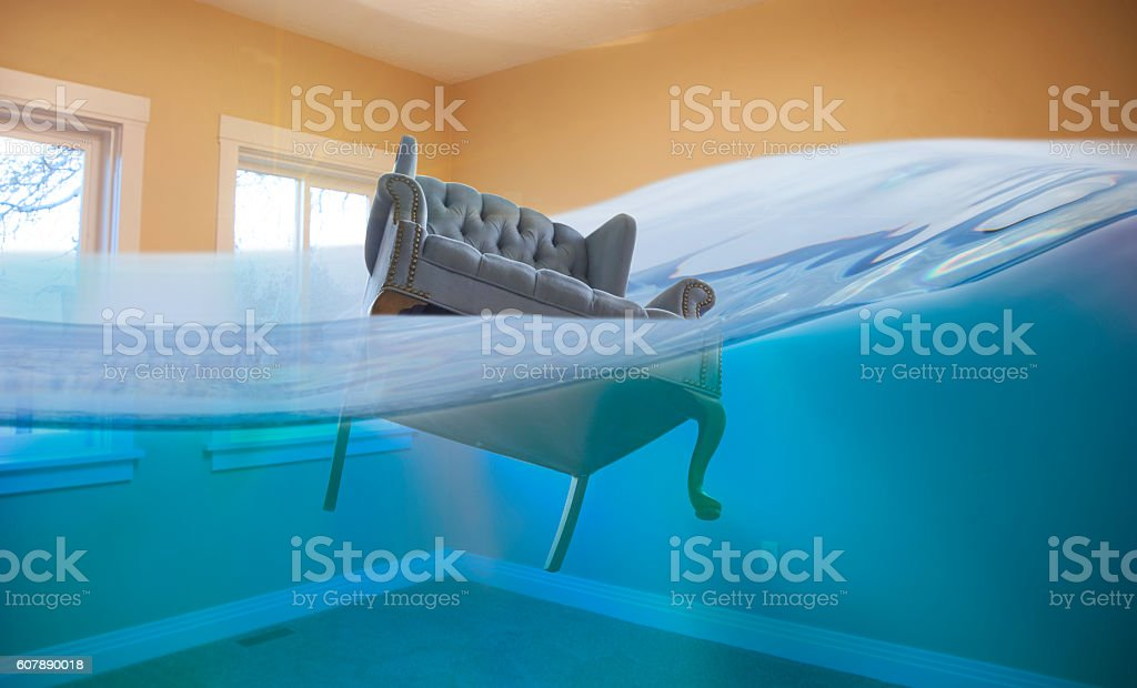 Flooded room stock photo