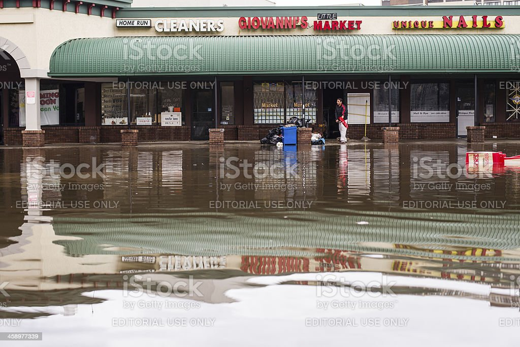 Flooded street after Hurricane Sandy stock photo