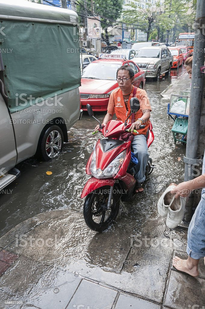 Flooded Street In Bangkok, Thailand royalty-free stock photo