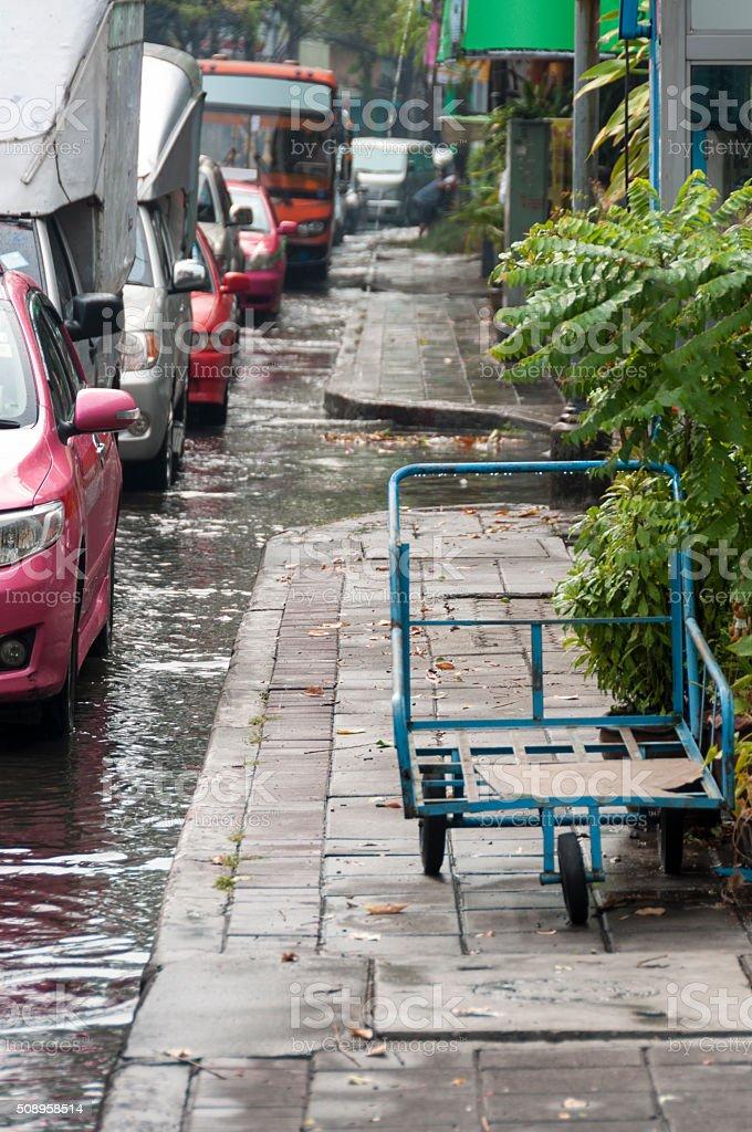 Flooded Street In Bangkok, Thailand stock photo