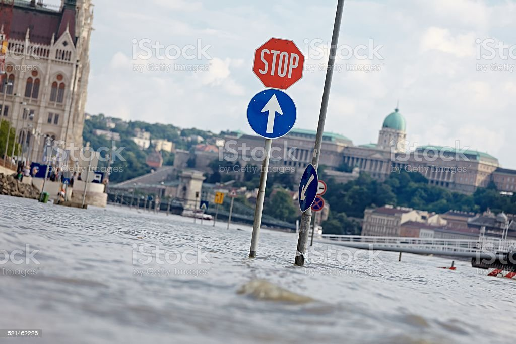 Flooded street in Budapest stock photo