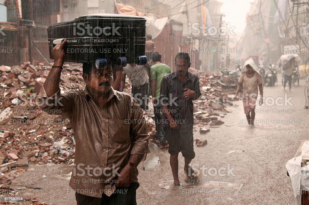Flooded street in New Delhi stock photo