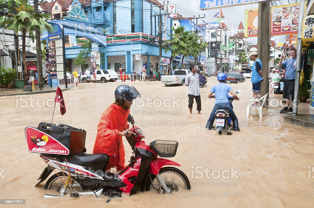 Flooded Street In Patong, Phuket, Thailand royalty-free stock photo