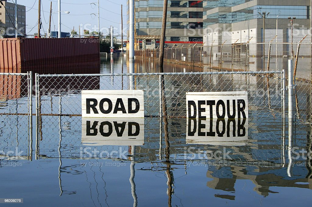 Flooded Street, New Orleans, Louisiana stock photo