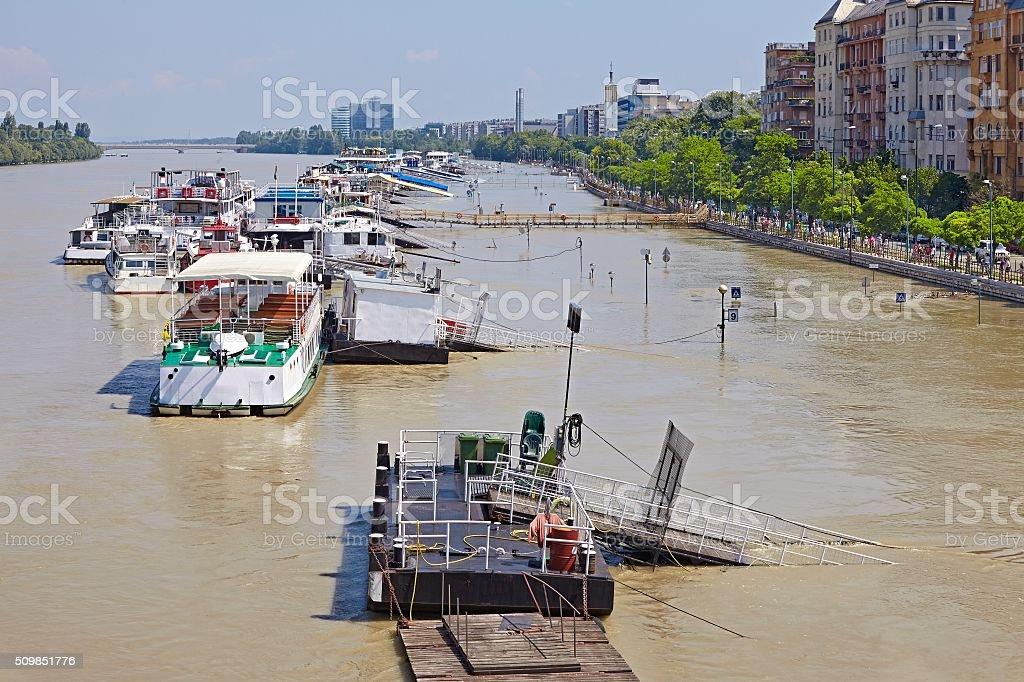 Flooded street view stock photo