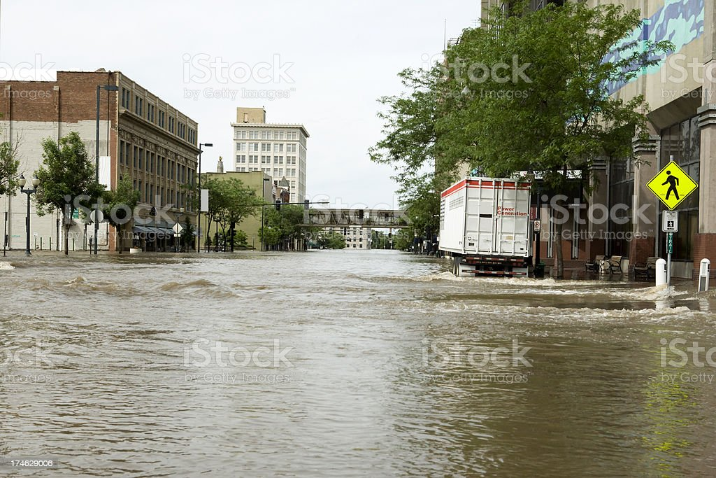 Flooded streets of an inner-city stock photo