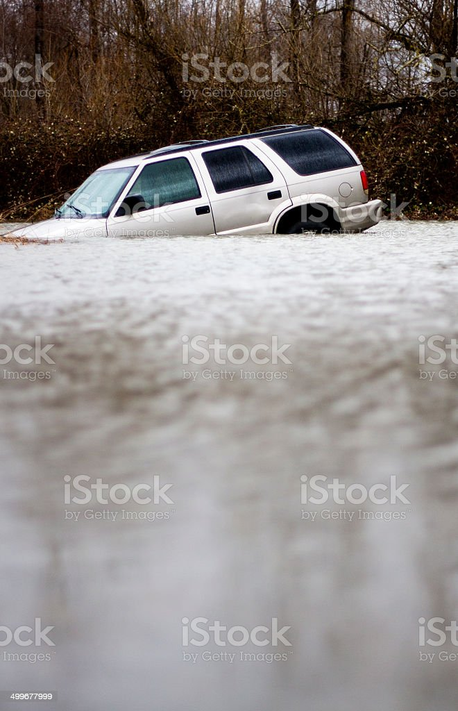 Flooded SUV stock photo