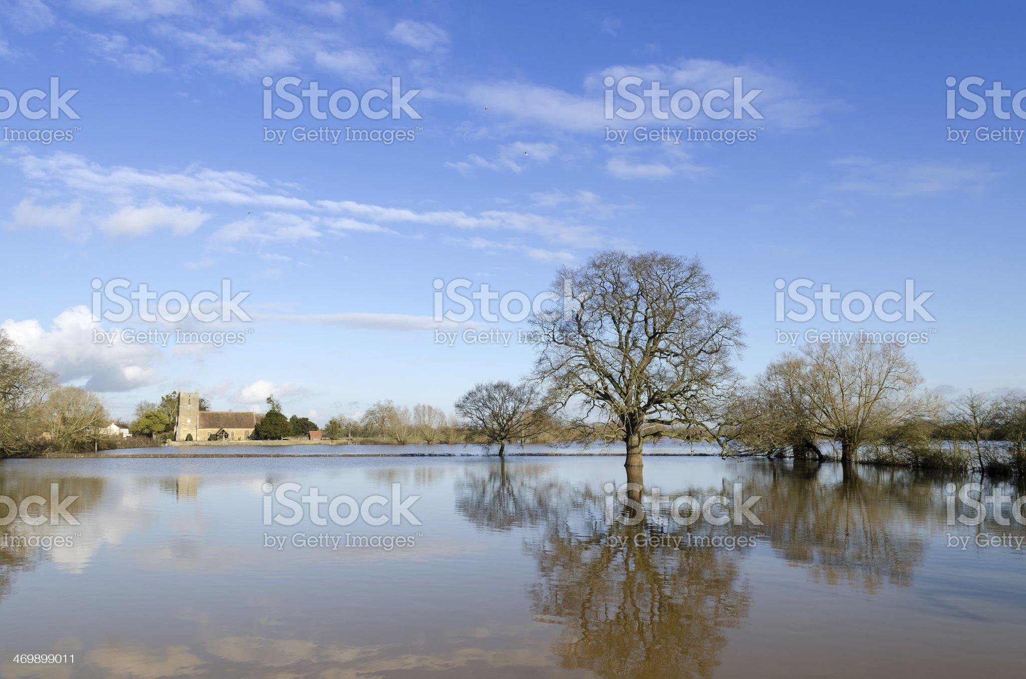 Flooded village, Gloucestershire royalty-free stock photo