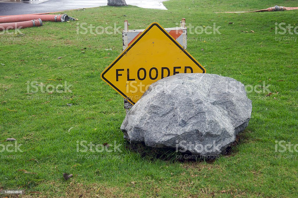 Flooded warning sign royalty-free stock photo