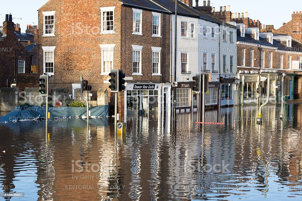 Flooded York, UK stock photo